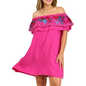 Umgee Pink Boho Off the Shoulder Embroidered Dress
